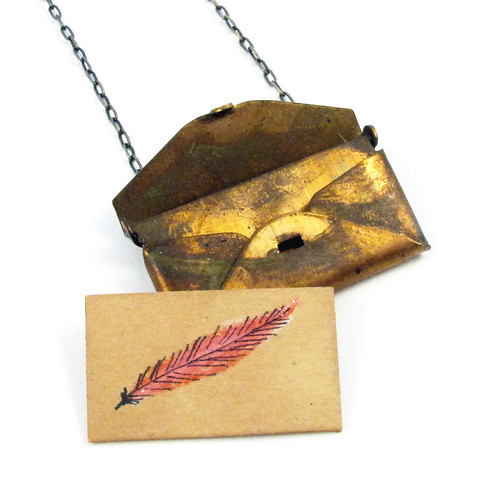 Loved Letter Envelope Locket With Pink Feather Drawing