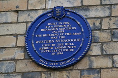 Photo of Western Synagogue and Benjamin Septimus Jacobs blue plaque