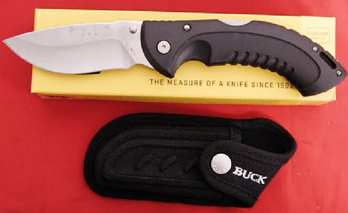 "Buck Omni Hunter 12PT Folder 4"" Plain Edge Blade w/Sheath, Black"