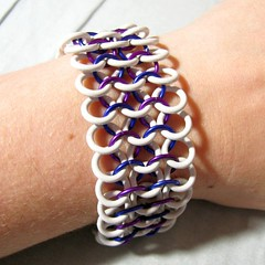 White and purple chainmaille bracelet