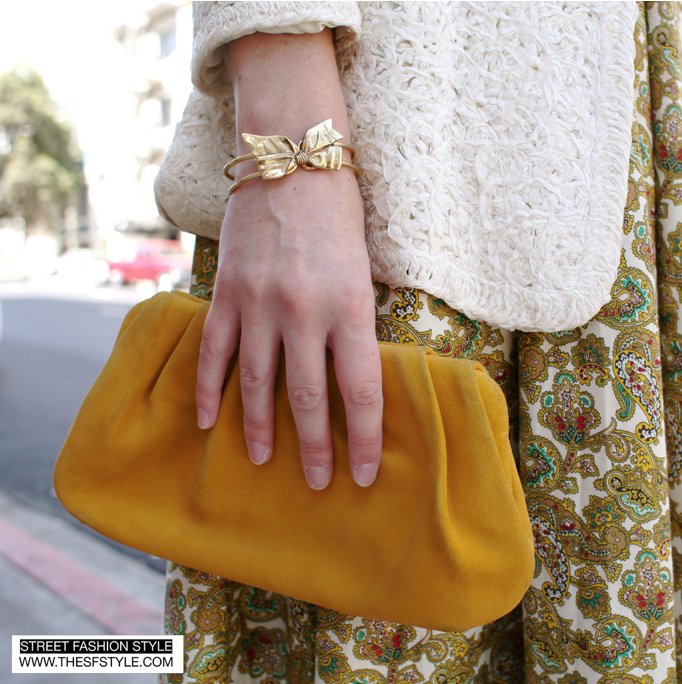 bow bracelet yellow clutch