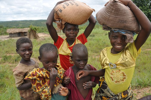 Young girls with their maize