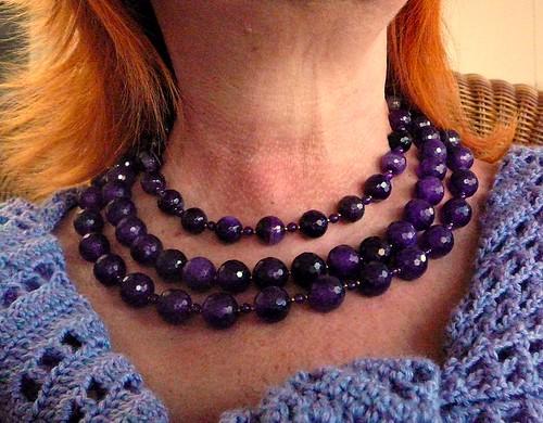 Amethyst necklace, 3 strands