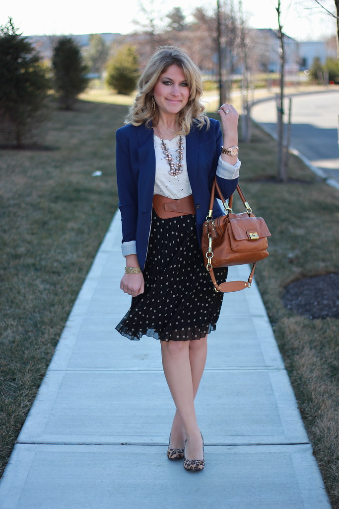 polka dot work outfit