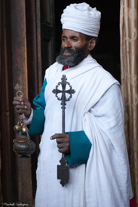 Priest with artifacts