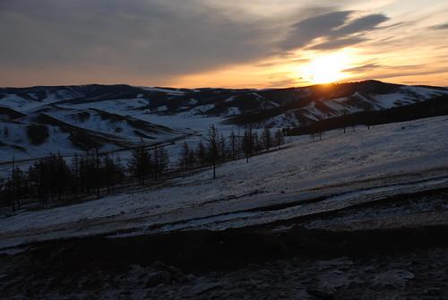 sunrise mongolianwinter bulganaimag bulganprovince khangaimountain