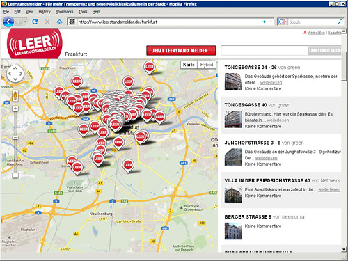Webseite Leerstandsmelder Frankfurt Screenshot