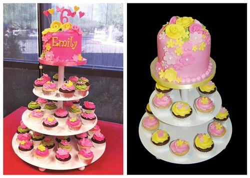 flowered cupcake towers