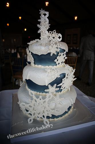 Snowflake Winter Wedding Cake This Three Tier Cake Is