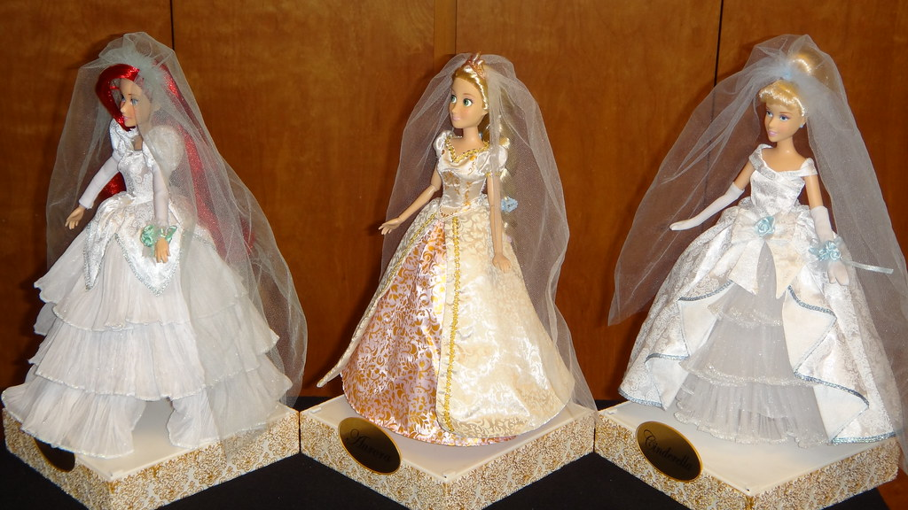 disney store wedding princess dolls ariel rapunzel and