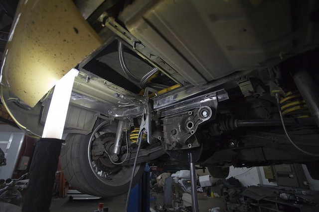 S50 to S62 Conversion | 1999 M Coupe | Dakar Yellow | Gray/Black | Z3M Trunk Floor Reinforcement