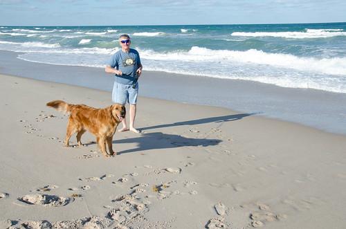 Grandpa and Sam on the Beach