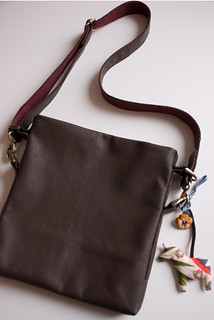 brown leather town bag
