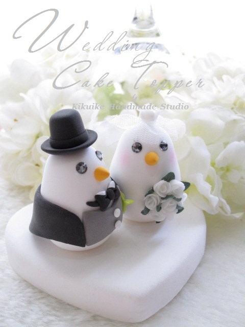Wedding Cake Topperlove bird with swallowtailed coat tuxedo and sweet