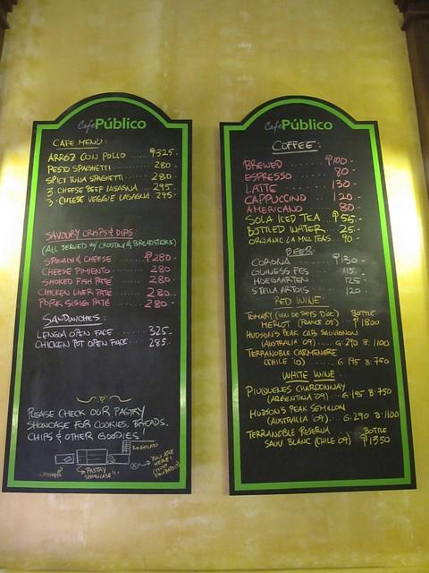 Cafe Publico Menu