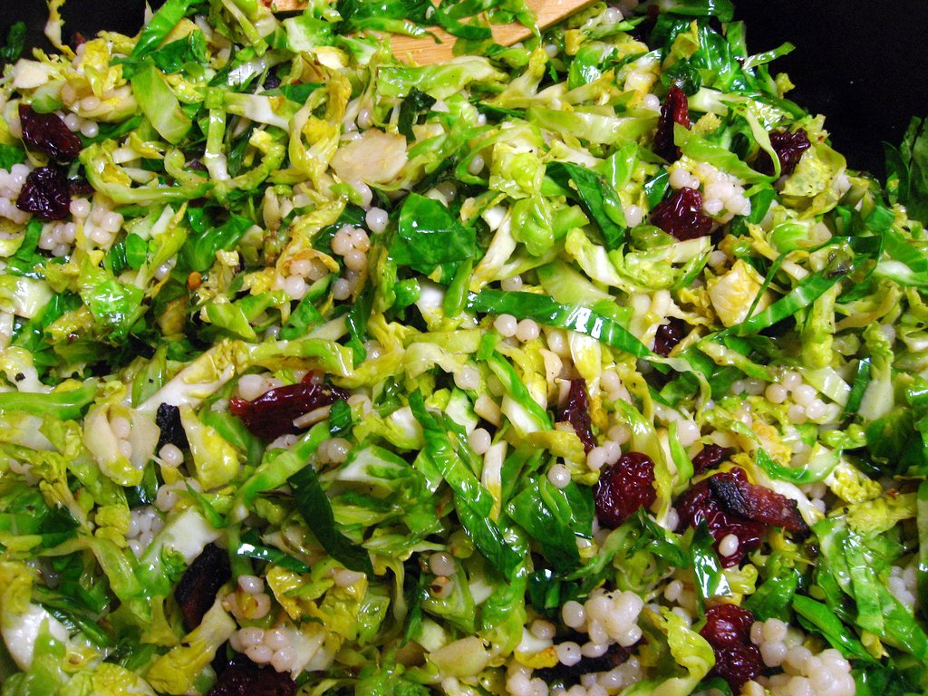 brussels sprouts with cherries, bacon, and couscous
