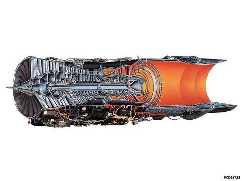 F100 engine Pratt and Whitney cutaway drawing