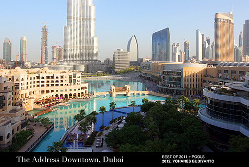 Best hotel pool the address downtown dubai a photo on for Best hotels dubai downtown