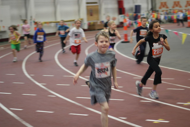 Benjamin running the TC Kids Mile