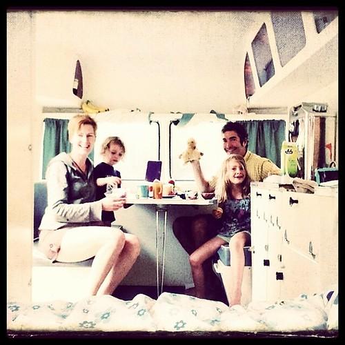Afternoon tea, caravan style. #sunliner #vintagecaravan #family #weekend #camping #caravanning #inverloch #lotsofilters #latergram