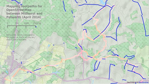 Footpath mapping around Midhurst, April 2014