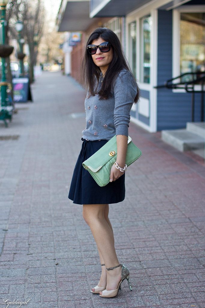 grey jeweled sweater, navy skirt, mint clutch.jpg