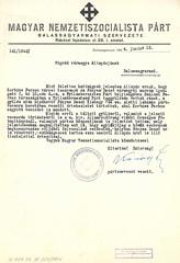 II/10. A Magyar Nemzetiszocialista Párt balassagyarmati vezetője a nyilasok tiltott összejöveteléről értesíti az alispánt. Balassagyarmat, 1944.06.12.