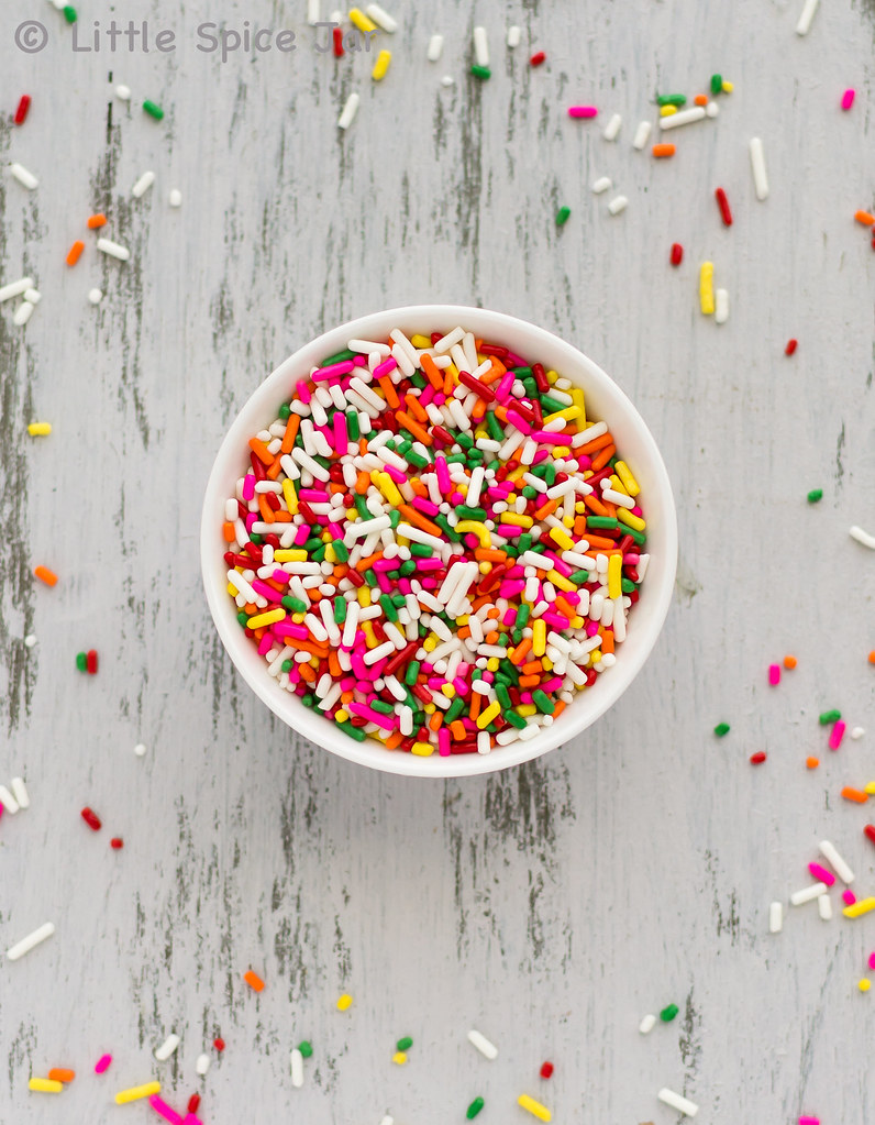 colorful sprinkles in white bowl