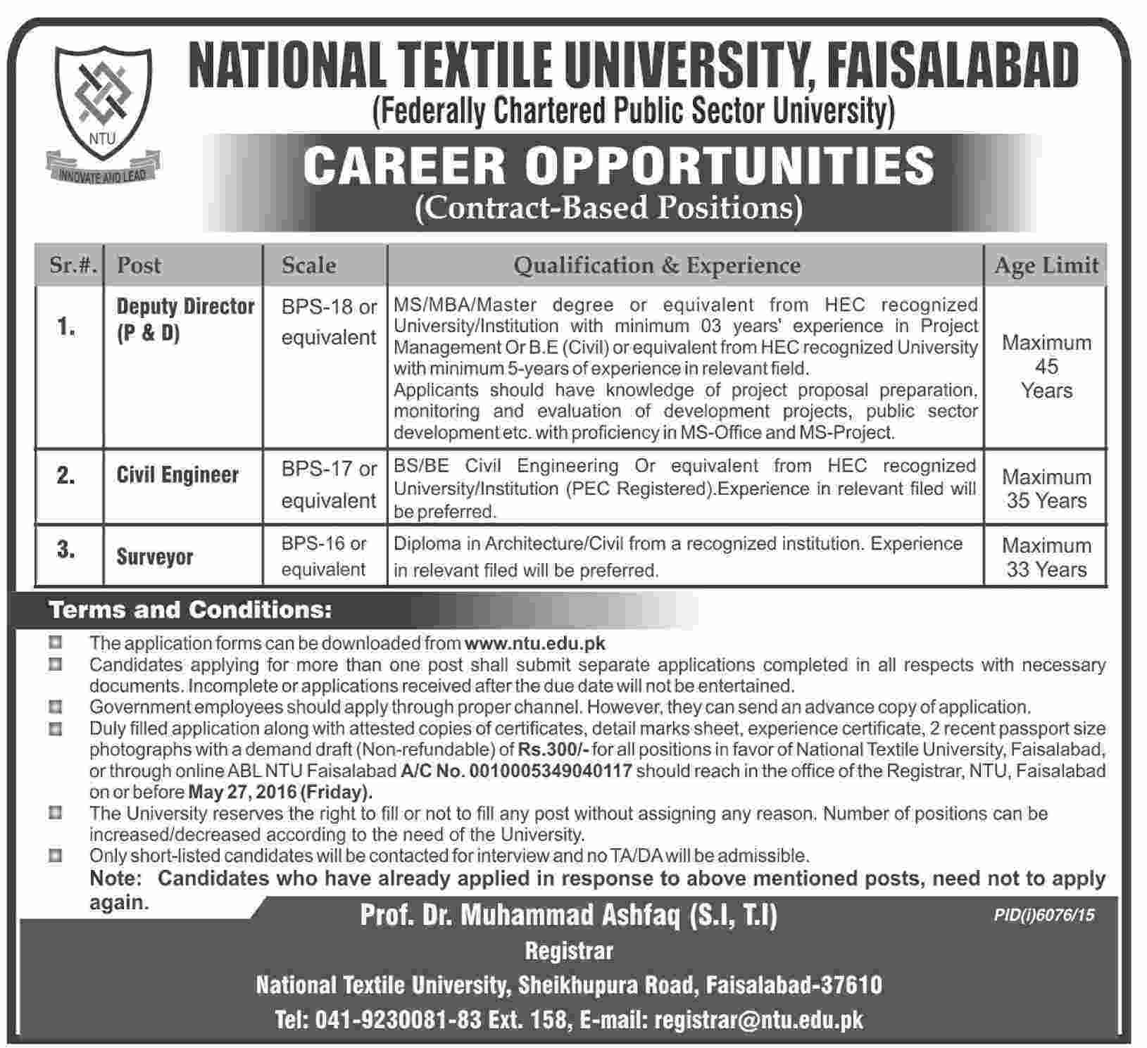 National Textile University Faislabad Jobs 2016