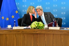 U.S. Secretary of State John Kerry chats with European Union High Representative Federica Mogherini during the seventh U.S.-EU Energy Council meeting on May 4, 2016, at the U.S. Department of State in Washington, D.C. [State Department photo/ Public Domain]