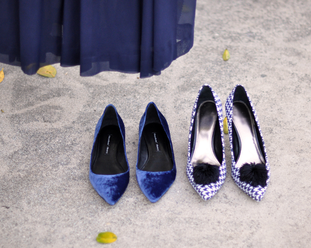 blue shoes-navy shoes-velvet shoes-houndstooth shoes