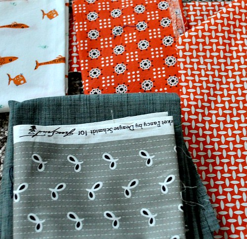 orange and grey fabrics