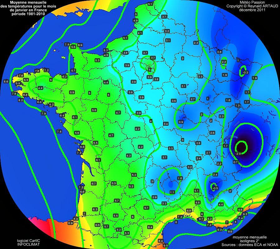 Moyennes mensuelles des temp�ratures pour le mois de janvier en France sur la p�riode 1981-2010