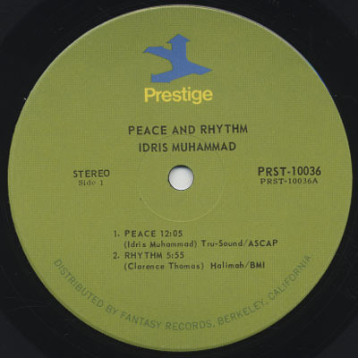 Idris Muhammad - Peace & Rhythm (1971) Label