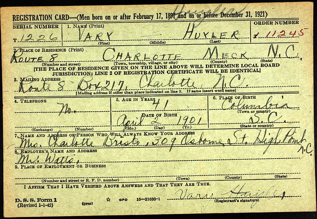 Vary Huyler - WWII Draft Card pg 1