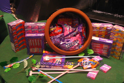 big pot of candies