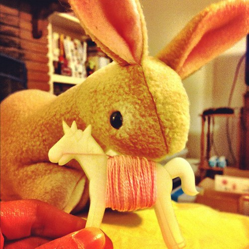 Sewing a bunny with the help of my Flossy the Unicorn Embroidery Floss Bobbin.