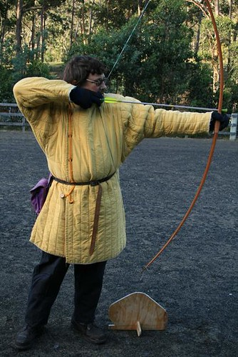 Lord Anselm practicing archery by Ynys Fawr