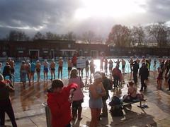 Swimmers in the winter sun