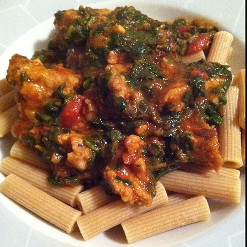 WW pasta with spinach & sauce