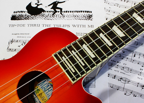 Ukulele with music copy by Helen in Wales