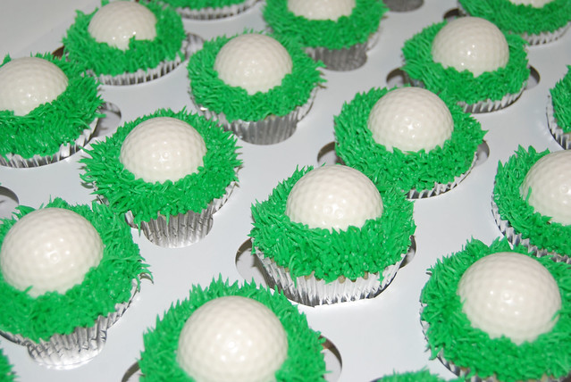 golf cupcakes for a 50th birthday celebration
