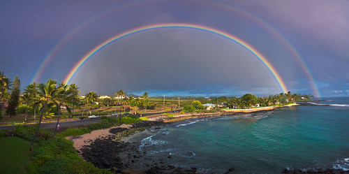 sea storm beach rain hawaii bay rainbow fishing nikon turtle double snorkeling kauai poipu d90 hoai