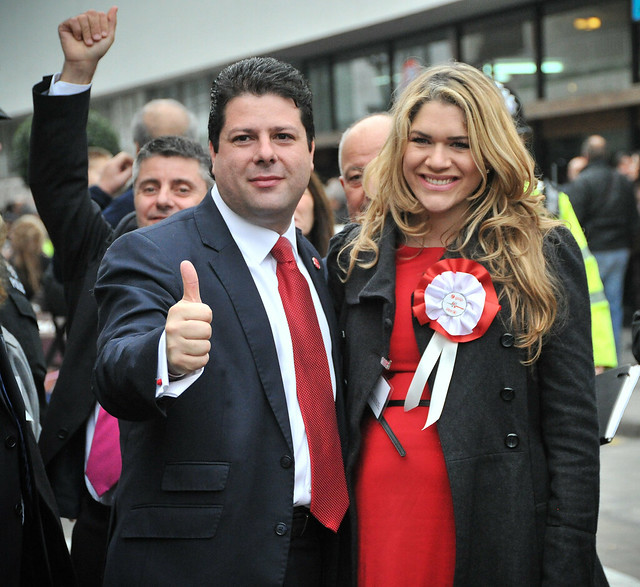Socialist Labour leader Fabian Picardo celebrates his parties strong result