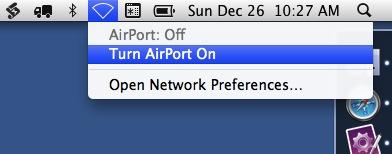AirPort menu