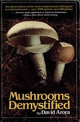 Cover of Mushrooms Demystified features a photo of two big shrooms