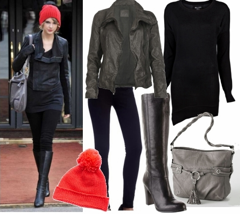 Black Leather Dress on Styling Casual Wear   Celebrity Winter Casual Outfit1