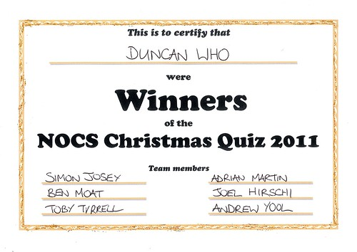 NOCS Christmas Quiz 2011 by Dr Yool