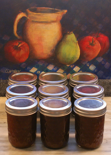 9 jars of Apple Butter for gifts ready to go. by chloe & ivan