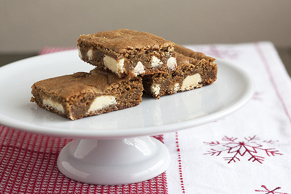 Gingerbread White Chocolate Blondies